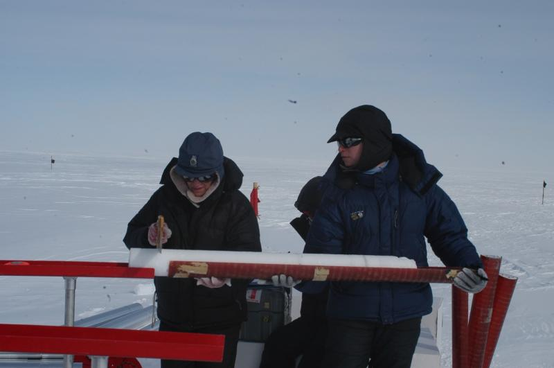 Ellen and Natalie Kehrwald processing shallow ice core