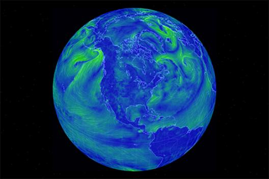 Globe view of the earth's wind patters.