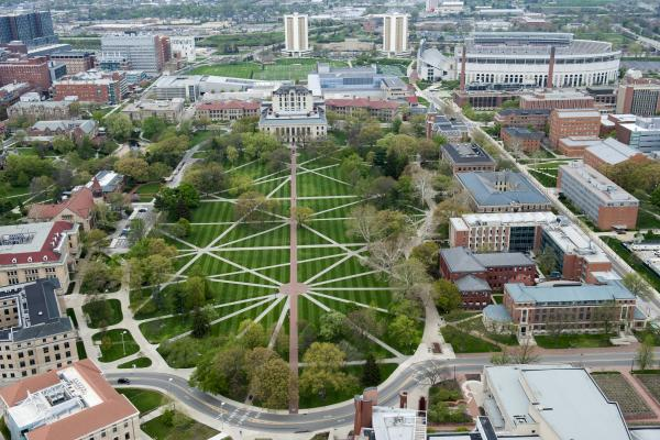 Arial view of The Ohio State University Oval.