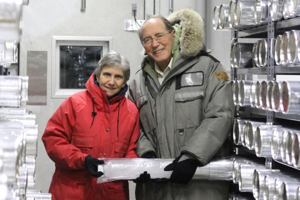 Dr. Lonnie Thompson and Dr. Ellen Mosley-Thompson hold an ice core.