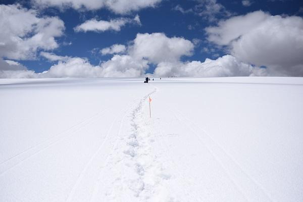 Quel. team members approaching the 18,670 ft summit of the Quelccaya in 2018